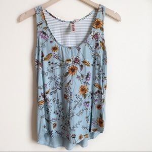 Anthropologie Dolan Top Floral Sleeveless Blue XS